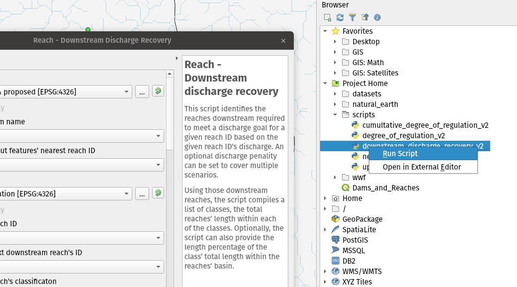 Ejecución de scripts de Python desde el Navegador de QGIS 3.4 Madeira