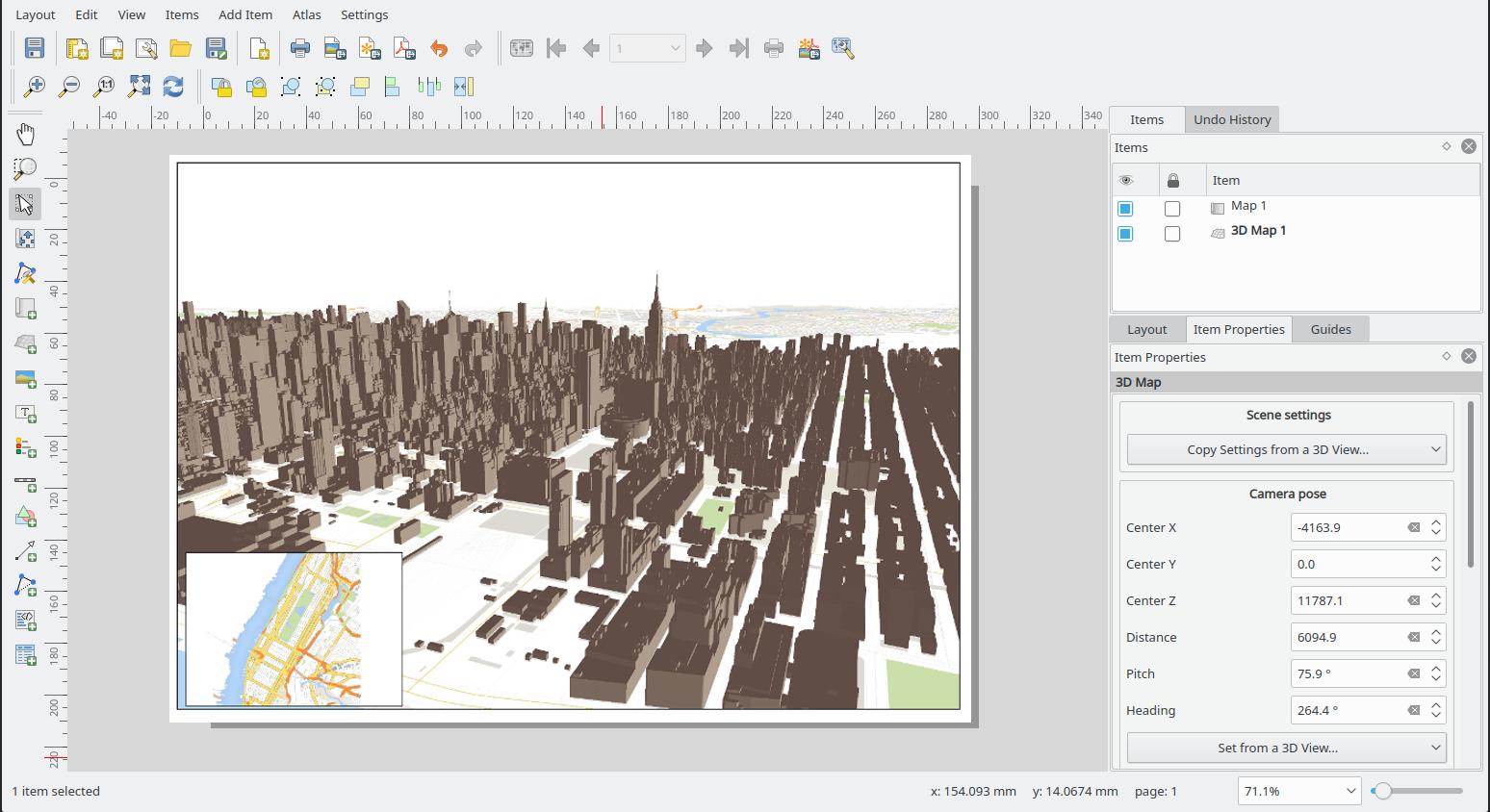 Vista 3D en el compositor de mapas de QGIS 3.4 LTR