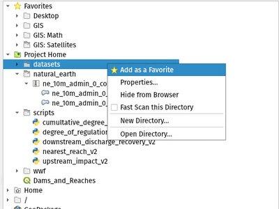 Panel de navegador de QGIS 3.4 LTR