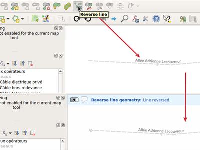 Invertir la dirección de una línea en QGIS 3.4 LTR